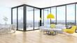 Leinwanddruck Bild - modern bright interiors apartment Living room 3D rendering illustration