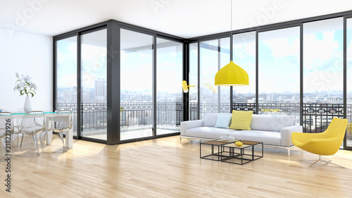 Obraz modern bright interiors apartment Living room 3D rendering illustration - fototapety do salonu