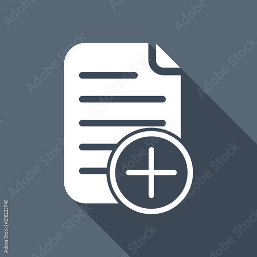 add document icon, paper and plus in circle. White flat icon wit Wallpaper Mural