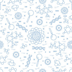 FototapetaSeamless pattern with variety scientific, education elements.