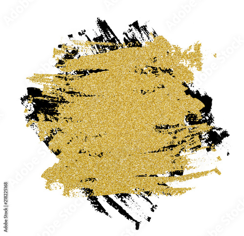 Photo Black and golden brushstrokes