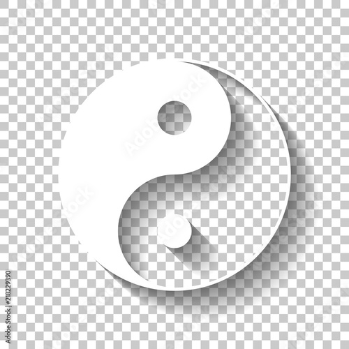 Fényképezés  yin yan symbol. White icon with shadow on transparent background