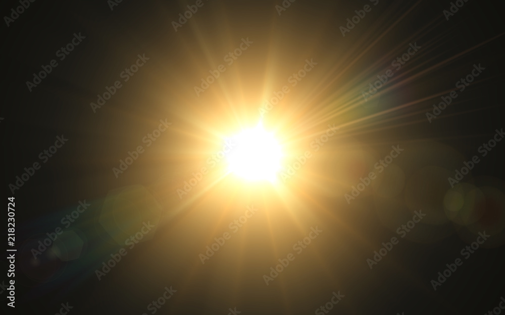 Fototapety, obrazy: Abstract image of lighting flare.Abstract sun burst with digital lens flare background.Gold nature flare effect