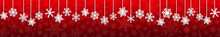 Christmas Seamless Banner With White Hanging Snowflakes With Shadows On Red Background