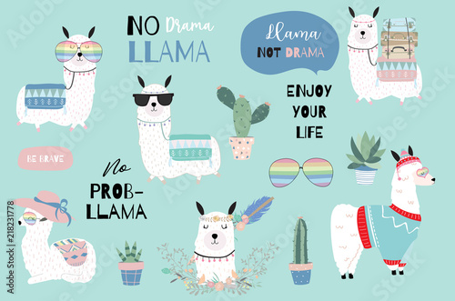 Fotografía  Blue hand drawn cute card with llama, heart glasses and hat in winter christmas