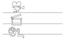 Banner Design - Continuous Line Drawing Of Business Icons: Movie Camera, Clap Board, Film Tape