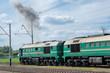 Diesel locomotive on the station