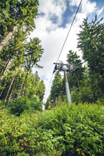 Mountain Lift On A Green Forest With Tall Pine