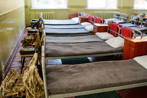 many beds in the military barracks of ukraine Canvas Print