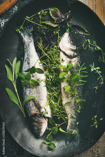 Cooking fish dinner Canvas Print