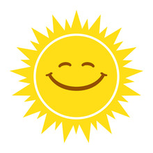 Sun Smile Sign, Icon, Tag. Vec...