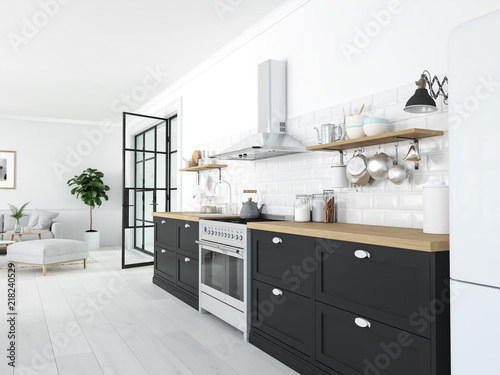 Fotografie, Obraz  modern nordic kitchen in loft apartment. 3D rendering