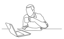 Continuous Line Drawing Of Sitting Man Watching Laptop Computer Drinking Coffee