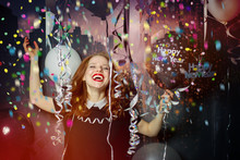 Happy New Year Red Hair Women Makes A Party