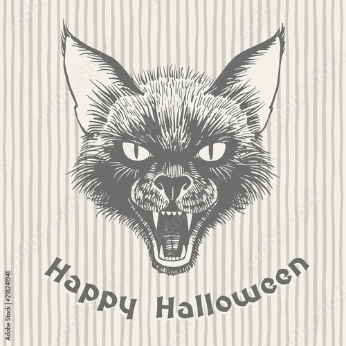Tableau sur Toile Happy Halloween vintage hand drawn greeting card