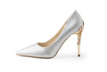 Luxury High Heels Isolated On White Background. Clipping Path For Design Or Artwork..Silver High Heels.