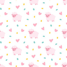Vector Seamless Pattern Of Cartoon Pink Sheep With Dots And Hear
