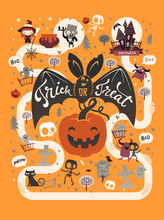 Happy Halloween Flyer Template In A Flat Style With Festive Map, Funny And Spooky Cartoon Characters And Place For Text. Vector Illustration For Party Invitation, Greeting Card, Announcement Banner.