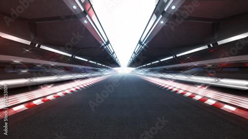 Motorise illuminated race track with shiny lights and motion blur