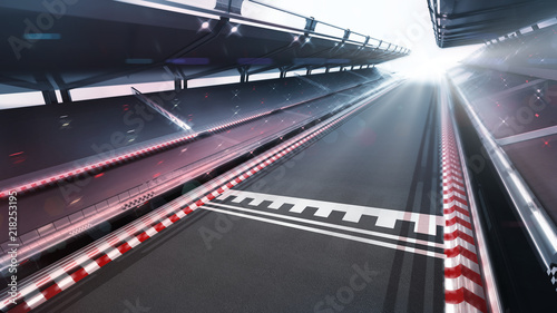 Photo sur Aluminium Motorise race track finish area with motion blur and shiny lights