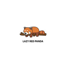 Lazy Red Panda Sleeping On A Branch Cartoon, Vector Illustration