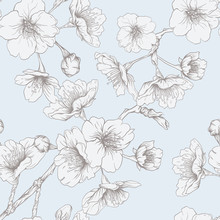 Seamless Pattern, Background With Blooming Cherry Japanese Sakura In Vintage Blue And Beige Colors. Stock Vectorillustration.