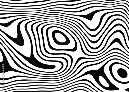 Cuadros en Lienzo abstract background of white and black lines. Distorted Lines