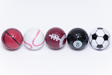Golfball Painted Like A Ball Of Many Different Kinds Of Sports Golf