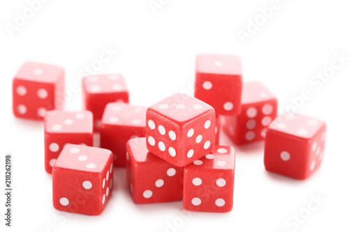 фотография  Red dice isolated on white background