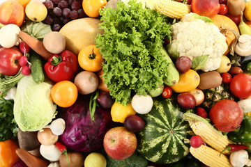 Ripe fruits and vegetables background
