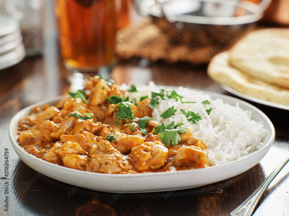 Fototapety, obrazy: plate of indian curry with basmati rice and chicken