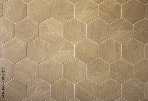 Obraz Brown floor hexagon tile with texture of a tree - fototapety do salonu