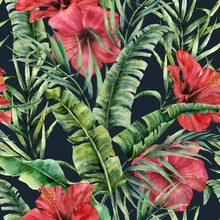 Watercolor Seamless Pattern With Banana Leaves And Hybiscus. Hand Painted Greenery Tropical Palm Brunch And Red Flowers On Dark Blue Background. Botanical Illustration For Design, Print Or Background.