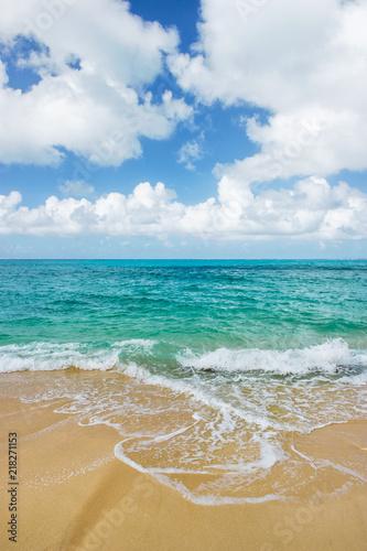 Fototapeta Blue sea water cloudy sky sand beach Summer landscape obraz