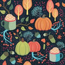 Beautiful Whimsical Autumn Seamless Pattern.