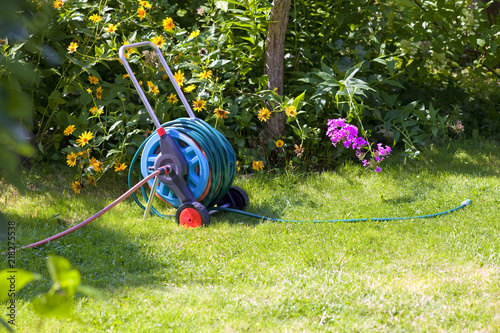 hosepipe reel in the beautiful, green garden bathed in sunlight Tapéta, Fotótapéta