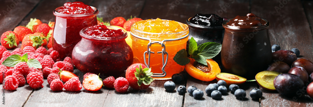 Fototapety, obrazy: assortment of jams, seasonal berries, apricot, mint and fruits. marmalade or confiture