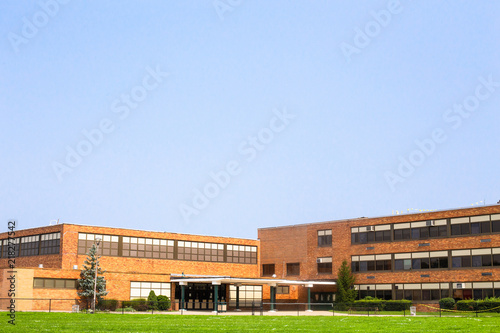 View Of Typical American School Building Exterior Buy This Stock