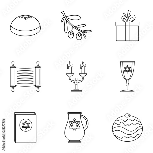 Vászonkép  Religiosity icons set