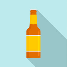 Glass Bottle Of Beer Icon. Flat Illustration Of Glass Bottle Of Beer Vector Icon For Web Design