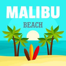 Sunrise At Malibu Beach Background. Flat Illustration Of Sunrise At Malibu Beach Vector Background For Web Design