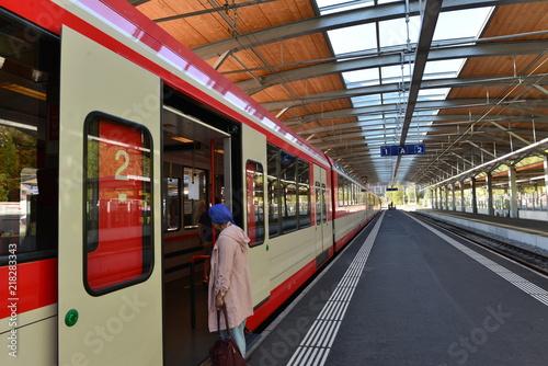 Foto auf Gartenposter Bahnhof Bahnhof Täsch im Kanton Wallis