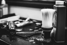 Brush For Shaving Beard Along With Bowl, Blurred Background Of Hair Salon For Men, Barber Shop