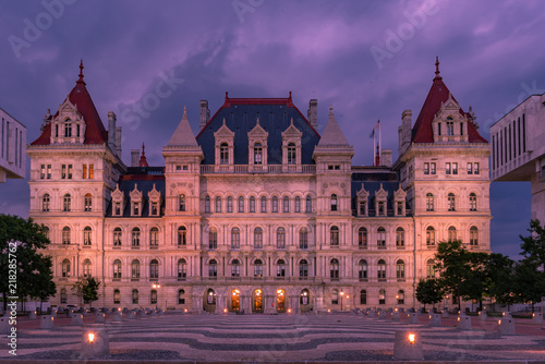 New York State Capitol building at night, Albany NY Tablou Canvas