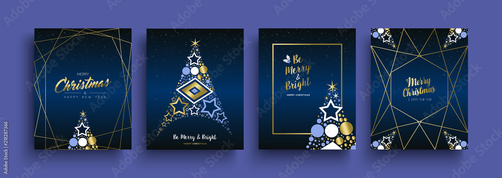 Fototapeta Christmas and New Year gold holiday icon card set