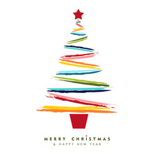 Christmas And New Year Multicolor Tree Card Art