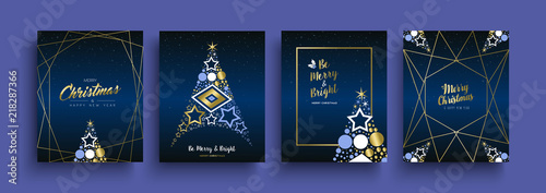 Fotografie, Obraz  Christmas and New Year gold holiday icon card set