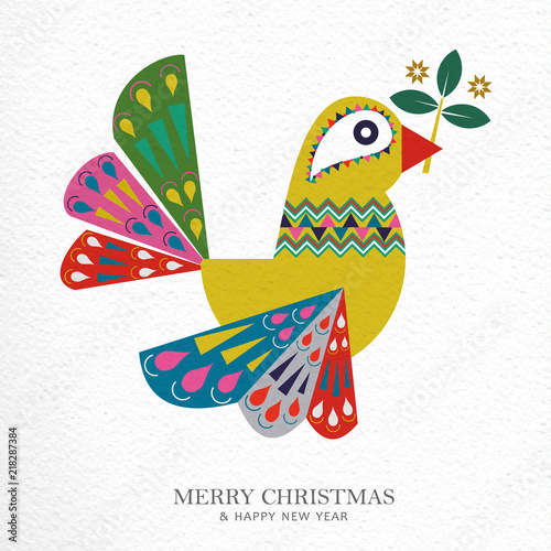 Fotografija  Christmas and New Year folk art bird greeting card