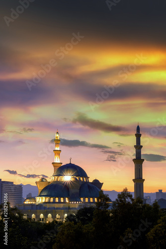 View of public mosque, Wilayah persekutuan mosque at sunrise in Kuala Lumpur, Ma Wallpaper Mural