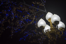 Beautiful Street Lamp At Night In The City And Ornamental Lights Background.